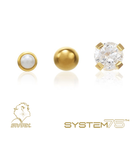Constellation Piercings: Studex System 75 karat gold or gold-plated piercing studs